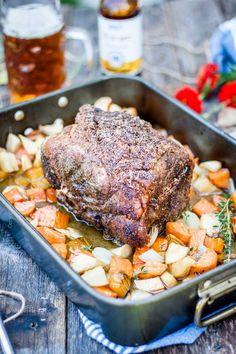 Boneless Pork Shoulder Roast (aka Schweinebraten) Boneless pork shoulder roast aka pork roast with fall root vegetables and Marzen lager. Pork Sirloin Roast, Pork Roast In Oven, Pork Ribs, Bbq Pork, Pot Roast, Pork Shoulder Picnic Roast, Boneless Pork Shoulder Roast, Boneless Pork Loin Recipes, Pork Roast Recipes