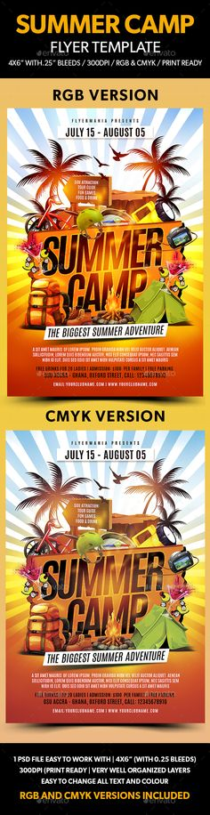 Summer Camp Flyer | Flyer Template, Camping And Text Fonts