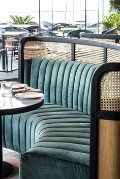 Bench seating and banquettes taken to the next level of luxury. Velvet and cane seating #restaurantdesign Hospitality Design HOSPITALITY DESIGN | IN.PINTEREST.COM FASHION EDUCRATSWEB