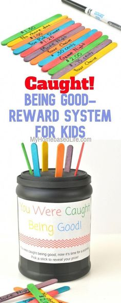 Reward System for Kids Craft I Got Caught Being Good - Education Job - Ideas of Education Job - Reward your kiddos for going above and beyond your expectations. This reward system is completely customizable for any child. Reward System For Kids, Kids Rewards, Rewards Chart, Reward Charts For Kids, Classroom Reward System, Kids Prizes, Chore Chart Kids, Chore Charts, Parenting Toddlers