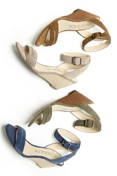 These suede mid heel wedges are a summer essential!