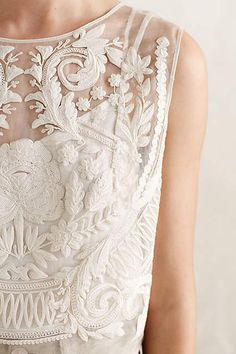 Emboridered Ivory Top - anthropologie.com