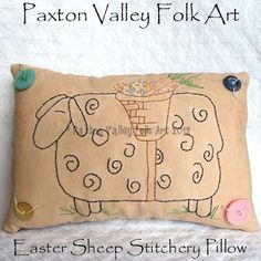 Easter Sheep Pillow Cupboard Tuck, hand crafted by Paxton Valley Folk Art from a design by Cheryl Seslar.