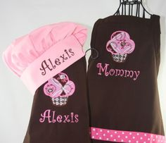Mommy & Me Personalized Apron Cupcake Brown Pink with Girls Hat - Embroidered Monogrammed