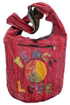 Peace Love Red Hippie Bohemian Handbag Purse $29.99