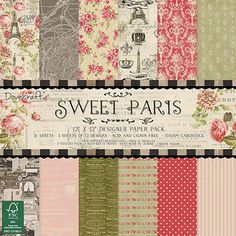 "IMPRONTE D'AUTORE - STAMPING - PRODOTTI - Carte - DCDP146 Sweet Paris 30x30 cm (12"" x 12"")"