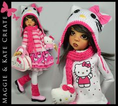 "OOAK * Hello Kitty * Outfit for Kaye Wiggs 18"" MSD BJD by Maggie & Kate Create"