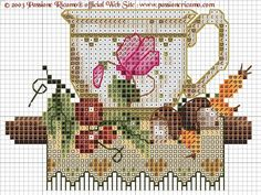no color chart available, just use the pattern chart as your color guide. Cross Stitch Designs, Counted Cross Stitch Patterns, Cross Stitch Embroidery, Embroidery Patterns, Cross Stitch Kitchen, Cross Stitch Heart, Cross Stitch Flowers, Embroidery Techniques, Cross Stitching