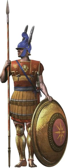 Macedonian hoplite with Phrygian helmet with jaw protectors, linen cuirass, hoplite shield with the Vergina sun symbol and double edged sword.