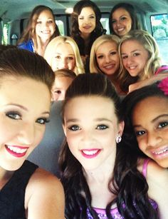 (back to front) Maddie, Brooke, Payton, Peyton List, Mackenzie, Paige, Chloe, Gianna, Kendall, and Nia on their way to the TCAs