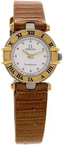 Omega Constellation automatic-self-wind white womens Watch 976001 (Certified Pre-owned) | 1199.00 | Ladies Omega Constellation watch. Stainless steel 22.5 mm case. 18k yellow gold fixed bezel with black Roman numerals. White dial with gold hands and ...