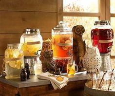 No bar? No problem! This festive self-serve beverage bar is a easy and beautiful way to give your guests multiple options!