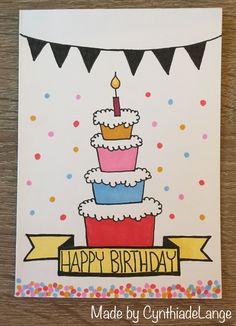 Hergestellt von CynthiadeLange - diyevent All Pictures Creative Birthday Cards, Homemade Birthday Cards, Funny Birthday Cards, Homemade Cards, Birthday Humorous, Birthday Sayings, Birthday Images, Birthday Doodle, Birthday Card Drawing