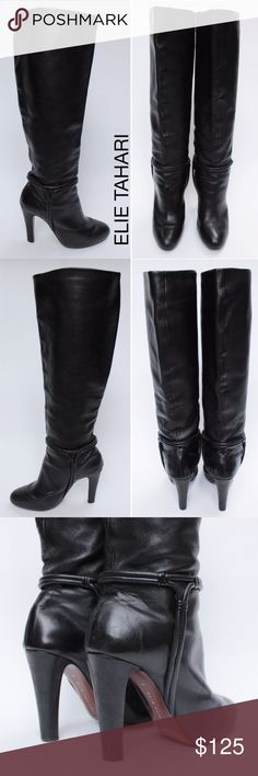 """Elie Tahari Marsha Harness Knee Boots Slouch 8M 34 Elie Tahari Marsha Black Point Round Pull Up Covered Heel Knee High Harness Boots with Beautiful Piping Ankle Wrap Around Accent.   Inner Platform (Adds Comfort!). Pull Up and Can be worn slouched.  Top of the Shaft is 14"""" Round Opening.   Retails $550 Size:  8 US 38 EU  Heel Height: 4"""" Closure: Pull Up Upper/Lining/Sole: Leather Shaft: 19.5 Condition: Pre-Owned Very Good, Slight Scuff at Toe, but can be easily polished by cobbler.  WT: 3…"""