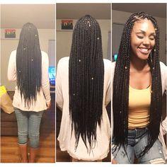 Long medium box braids
