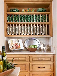 Dishes on Display Install a large plate rack to add a twist to traditional open shelving & plate rack plans | ... Building u2013 Wooden Plate Rack Wall Mounted PDF ...