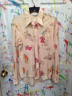 Men's Vintage polyester pimp disco nylon long sleeve shirt size Medium off white orange pink lines women with dogs motif 1970s RagsAGoGo