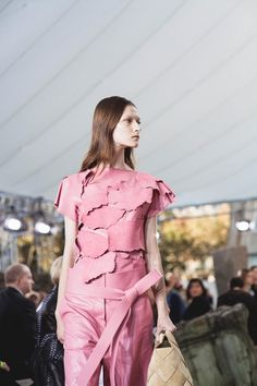Raw pink patchwork backstage at Loewe SS15 PFW. More images here: http://www.dazeddigital.com/fashion/article/21955/1/loewe-ss15