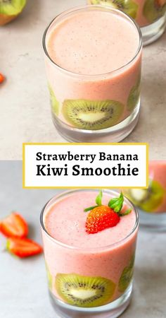 Strawberry, Banana and Kiwi Smoothie – light, creamy, flavorful and nutritious, great for a fresh, healthy snack. Ready in 2 minutes, packed with vitamins. Yummy Smoothie Recipes, Banana Recipes, Healthy Smoothies, Healthy Snacks, Strawberry Kiwi Smoothie, Lemon Smoothie, Kiwi And Banana, Smoothie Ingredients, Vitamins