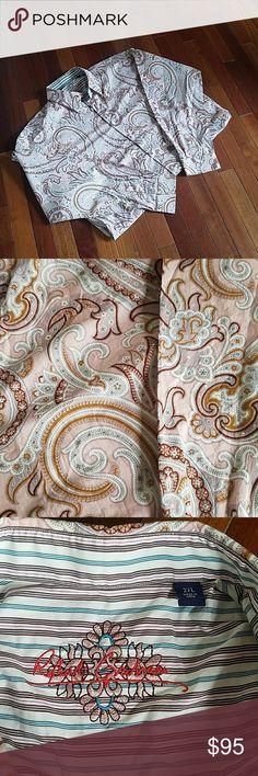 Men's Robert Graham shirt Pink/brown/White  paisley men's button down Robert Graham shirt Robert Graham Shirts