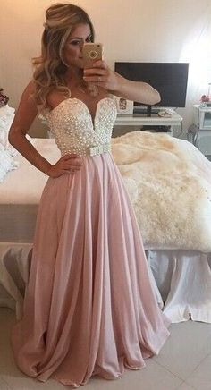 Elegant backless a-line rose pink chiffon prom dress, evening dress for teens, prom dresses long
