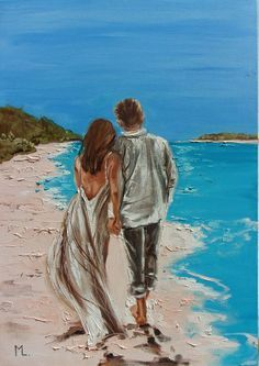 Beach Scene Painting, Couple Painting, Painting Of Girl, Painting People, Painting Art, Sea Drawing, Sea Illustration, Acrylic Painting Canvas, Lovers Art