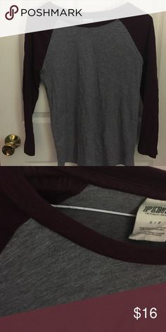 Burgundy baseball tee Three quarter sleeves. Soft. Lightly worn.                   Has a cute, boyfriend fit from Pink VS.                                                    Ask question, offers welcome! PINK Victoria's Secret Tops