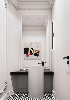Guest Toilet, Oversized Mirror, Bathrooms, Vanity, Interior, Furniture, Home Decor, Ladder, Washroom