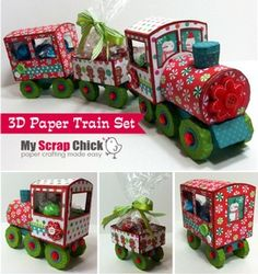 """3D Paper Train Set--How cute would this train go along with the Christmas story """"The Polar Express!!"""" There is a PDF pattern included for hand cutting if you don't own a cutting machine. *This is a pay file*"""