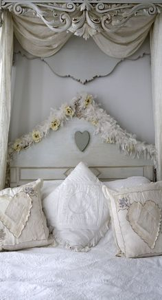 Love the detail on this bed (via Lee Caroline - A World of Inspiration: White & Romantique Swedish styled Interior)