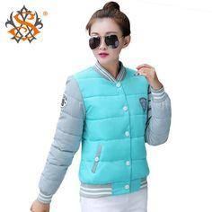 Winter Women Coat New Cotton Jacket Elastic Hem Overcoat Patchwork Baseball Uniform Warm Down-cotton Slim