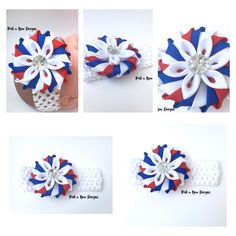"""""""RED WHITE AND BLUE HEADBAND""""      Who wouldn't love this?  Im in love of how this piece turned out! Really pretty and so unique.So perfect for any Patriotic Outfits for little girls most especially for those who loves taking pictures of their princesses!!! It is handmade from high quality grosgrain ribbons with a 12mm Crystal button on a white,soft elastic band that fits Newborn to Adult! And of course,handmade with love❤️ Alright,Happy Shopping!!!  (Red,White and Navy Blue)"""
