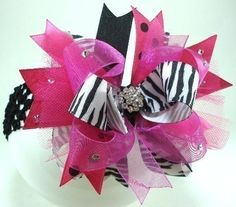 Sassy Hot Pink Zebra and Bling Over the Top Hairbow by sanchezc30, $19.99