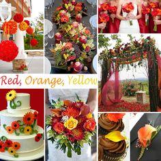 Wedding Colors, Red, Orange and Yellow make a beautiful choice!  #weddingplanning, #weddingcolors,  #blueandsilverwedding  #choosingweddingcolors
