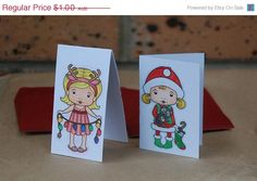 Small Christmas Cards Santa Marci Sunny by JemLouProductions, $0.80 #pcfteam