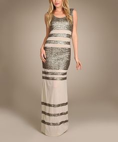 Look what I found on #zulily! Gold Sequin Stripe Maxi Dress #zulilyfinds