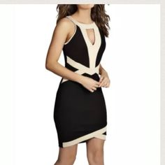 Beige and black cut out dress As shown ! No additional pictures , trades or modeling ✋ Dresses