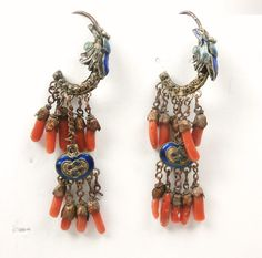 Antique Coral and Enamel Chinese Export Earrings.
