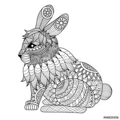Drawing zentangle rabbit for coloring page, shirt design effect, logo ...