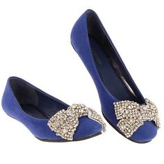 """Beaded Bow Trim Ballerina Shoe Navy 7 Navy 