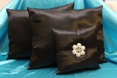 2 Black Satin Wedding Kneeling Pillows & Ring Bearer Pillow With Heart by SewUniqueShop on Etsy
