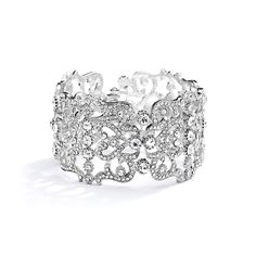 "This 8"" hinged bejeweled cuff bracelet is 1 1/2"" w & has fiery Crystals in a faux platinum finish. One size fits all."