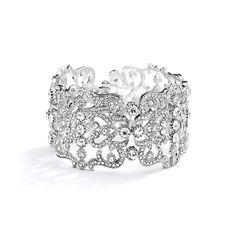 Mariell Vintage Inspired Crystal  Cuff Wedding Bracelet - www.affordableelegancebridal.com