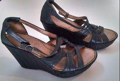 "Born Wedge Sandals 4"" High Heel Rattan Platform Size 8 39 Black Leather Strappy #Born #PlatformsWedges #Casual"
