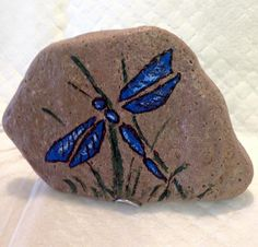 crnbrryctg: Painted rock - Dragonfly