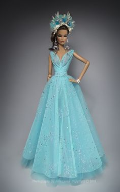 """Scale """"Turquoise Dream"""" Goddress Dress Outfit For FR Dolls Nu Face Barbie Girl Doll, Barbie Miss, Doll Clothes Barbie, Vintage Barbie Dolls, Barbie Wedding Dress, Barbie Gowns, Fashion Royalty Dolls, Fashion Dolls, Fashion Art"""