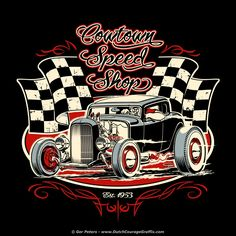 """Cowtown Speed Shop"" three color T-shirt version #hot #rod #logo #design"