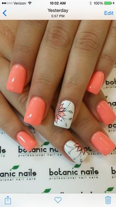 Category - Nail inspiration for best and unique nail designs, pedicure, acrylic nails, american nails and more on MyLify Fancy Nails, Diy Nails, Cute Nails, Peach Nails, Orange Nails, Coral Gel Nails, Botanic Nails, Toe Nail Designs, Fingernail Designs