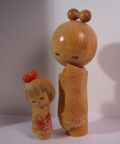 Vintage Bamboo Kokeshi Doll pair