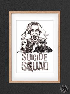 """""""Suicide Squad Print"""" by Aguirre Firth Illustration   SHOP:  www.aguirrefirth.com  Follow on:  Instagram: www.instagram.com/aguirrefirth Twitter: www.twitter.com/aguirrefirth Star Wars Fan Art, Limited Edition Prints, Watercolor Paper, Squad, Birthday Ideas, Etsy Shop, Ink, The Originals, Twitter"""
